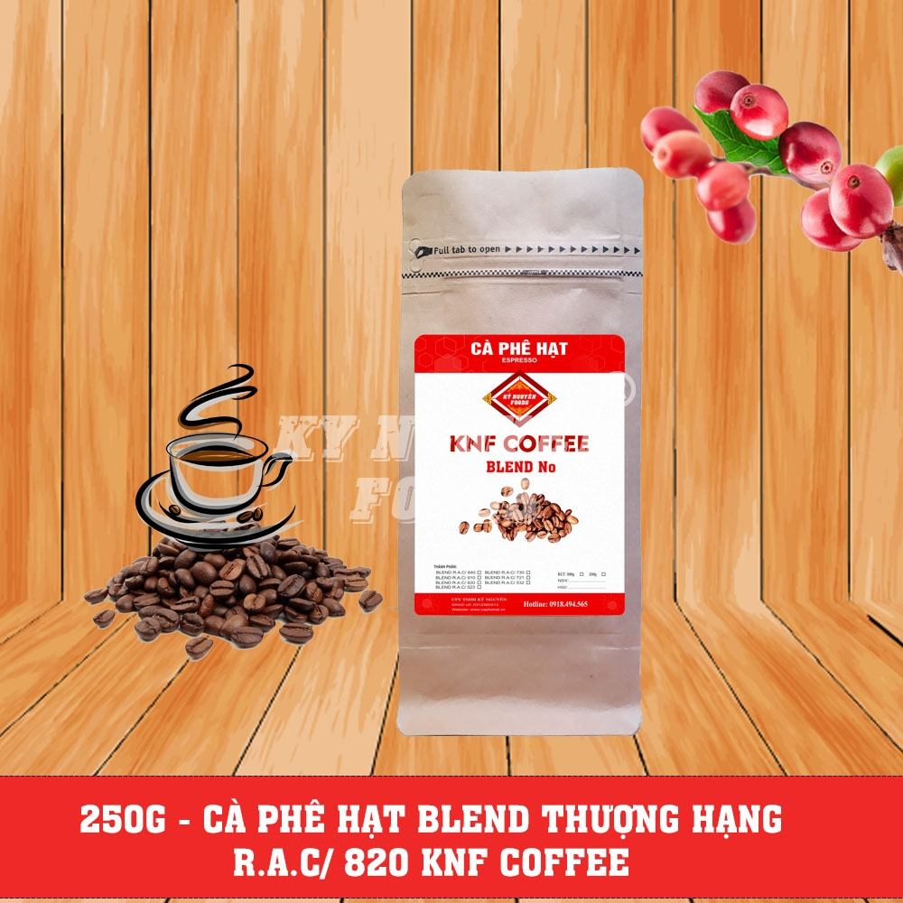 250G - CÀ PHÊ HẠT BLEND R.A.C/ 820 - KNF COFFEE
