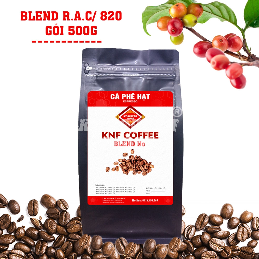 500G - CÀ PHÊ HẠT BLEND R.A.C/ 820 - KNF COFFEE