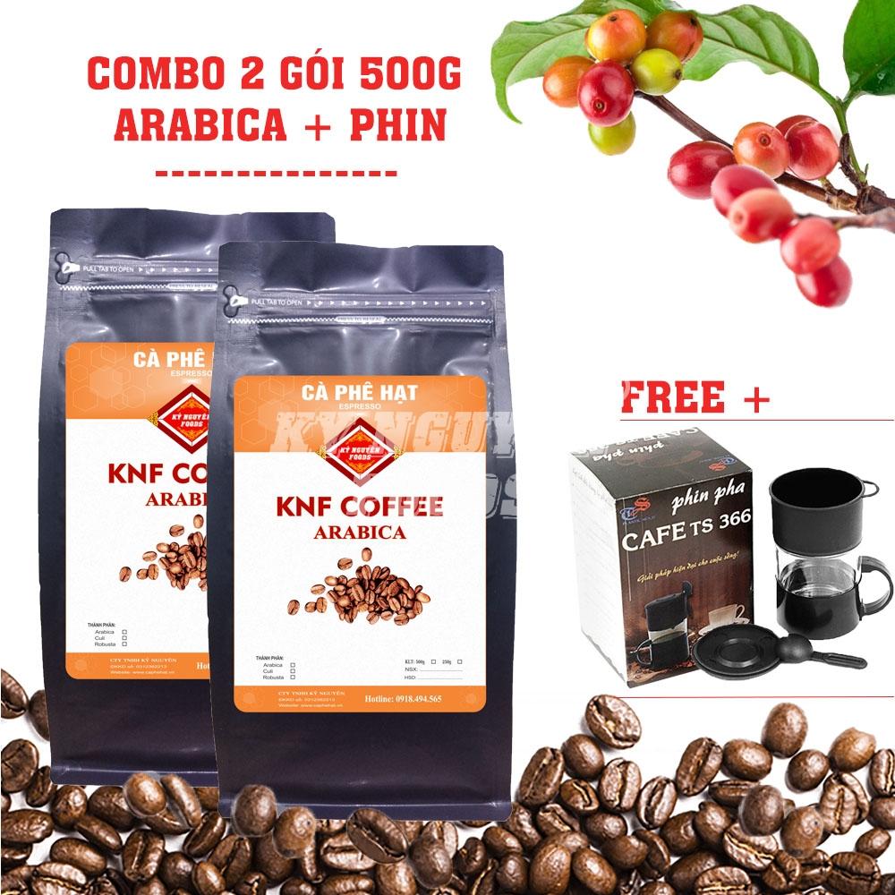 COMBO 2 GÓI 500G CÀ PHÊ HẠT ARABICA THƯỢNG HẠNG - KNF COFFEE + PHIN